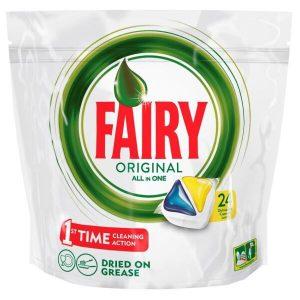Средство для мытья посуды в капсулах для посудомоечных машин FAIRY All in 1 Лимон 24шт