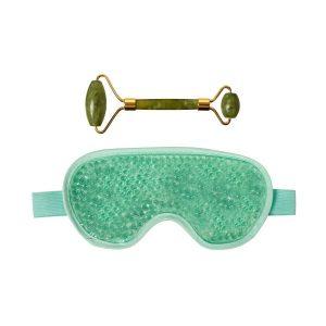 Массажёр для лица нефритовый и гелевая маска для глаз Naomi KZ 0923