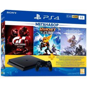 Игровая приставка PlayStation 4 (PS4) 1TB в комплекте с 3 играми (Horizon Zero Dawn Complete Edition